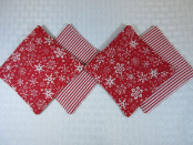 Snowflakes Red Stripes