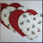 White Red Holly Hearts