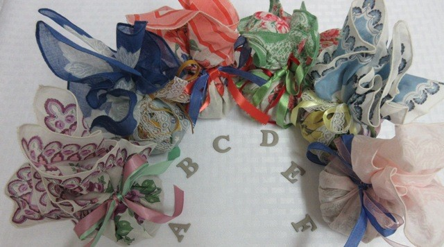 Vintage Handkerchief Sachets - filled with organic lavender