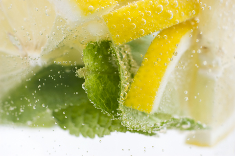 sparkling water with lemon slices and mint leaves